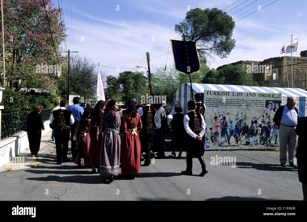 Cyprus, Nicosia, riot against the occupied Cyprus at the only check point of the green line in front of Ledra Palace - Stock Image