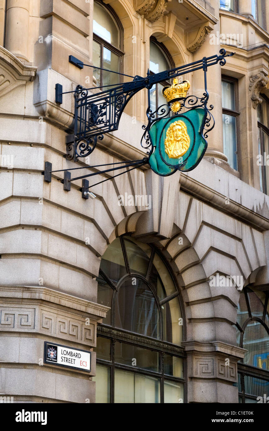City of London , Lombard Street , sign depicting King Charles 11 , originally sign over bank or Italian financier - Stock Image