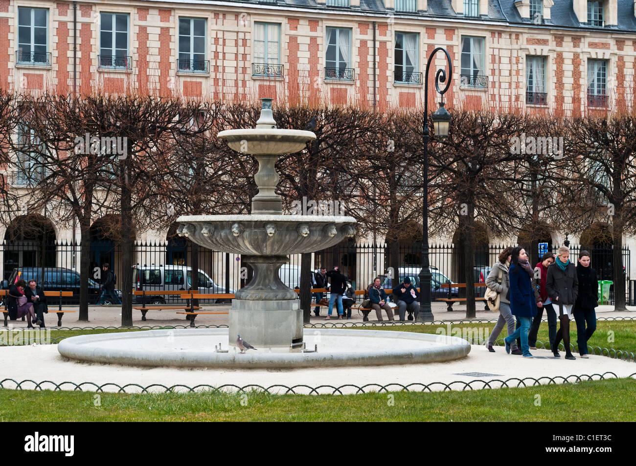 Place des Vosges, Le Marais, Paris, France. - Stock Image