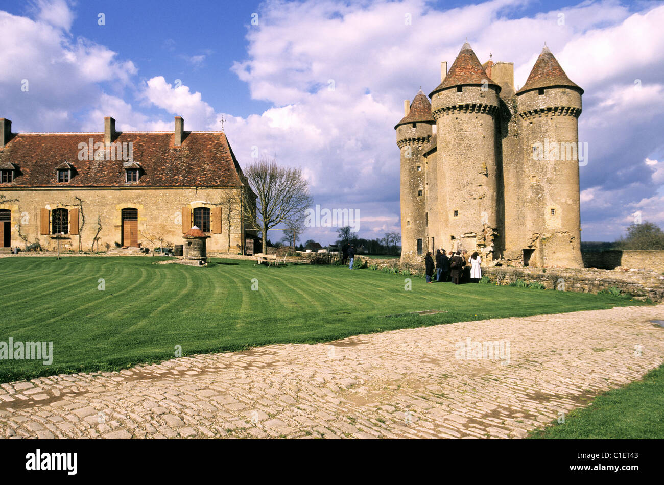 France, Indre, Berry of George Sand, the feudal castle of Sarsay in Sarzay evoked in the Miller of Angibault - Stock Image