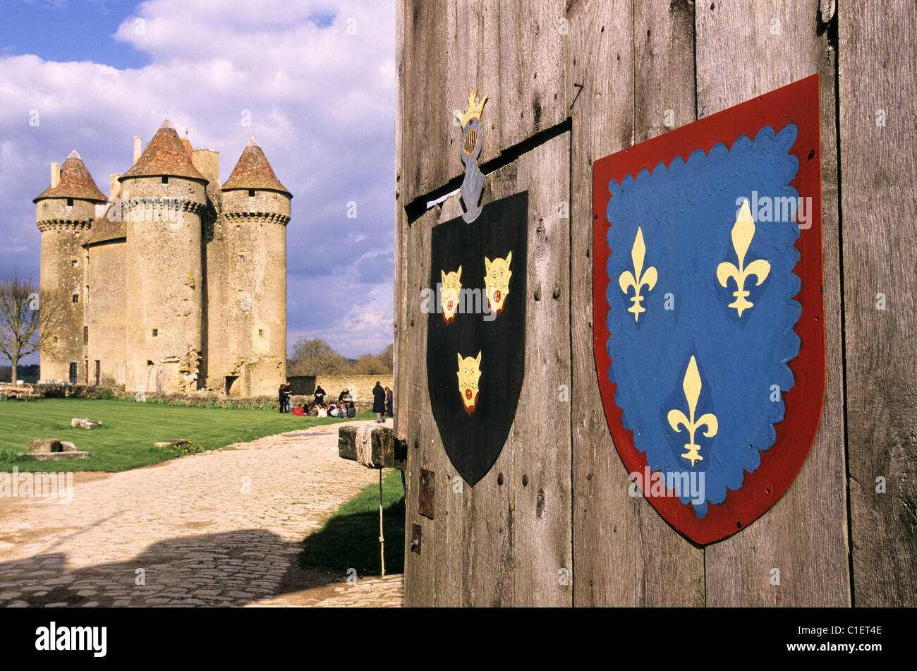 France, Indre, the Berry of George Sand, the feudal castle of Sarzay in Sarzay evoked in the Miller of Angibault - Stock Image