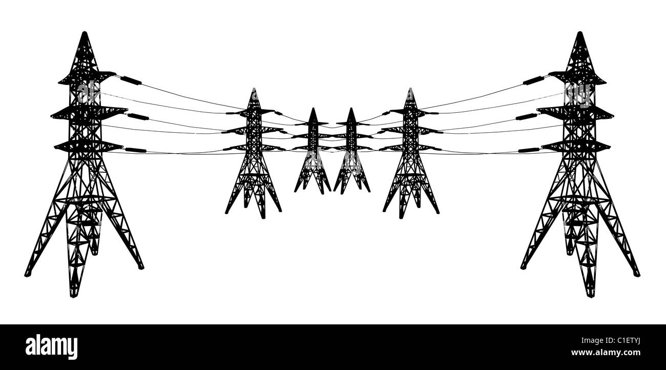 Vector Silhouette Of Power Lines And Electric Pylons On White Stock Line Wiring Diagram