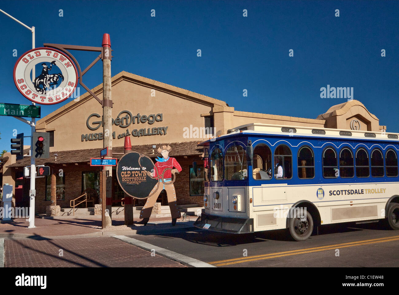 Trolley at Old Town in Scottsdale, Arizona, USA - Stock Image