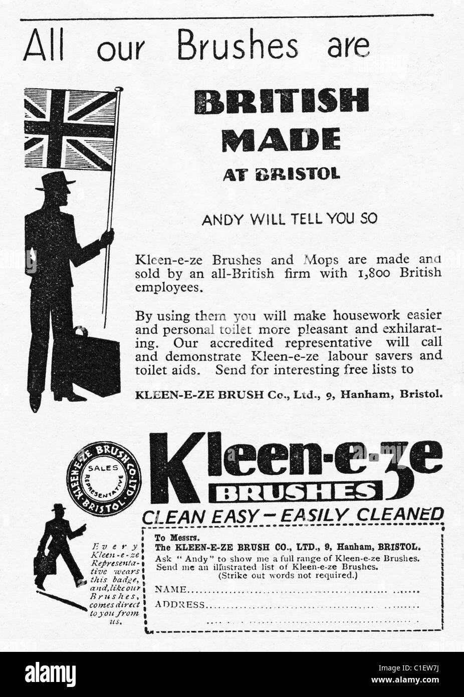 1930s advert in women's household consumer magazine for KLEEN-E-ZE BRUSHES - Stock Image