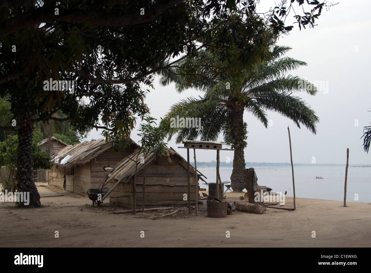 Ubangi River ,Betou ,Republic of the Congo - Stock Image