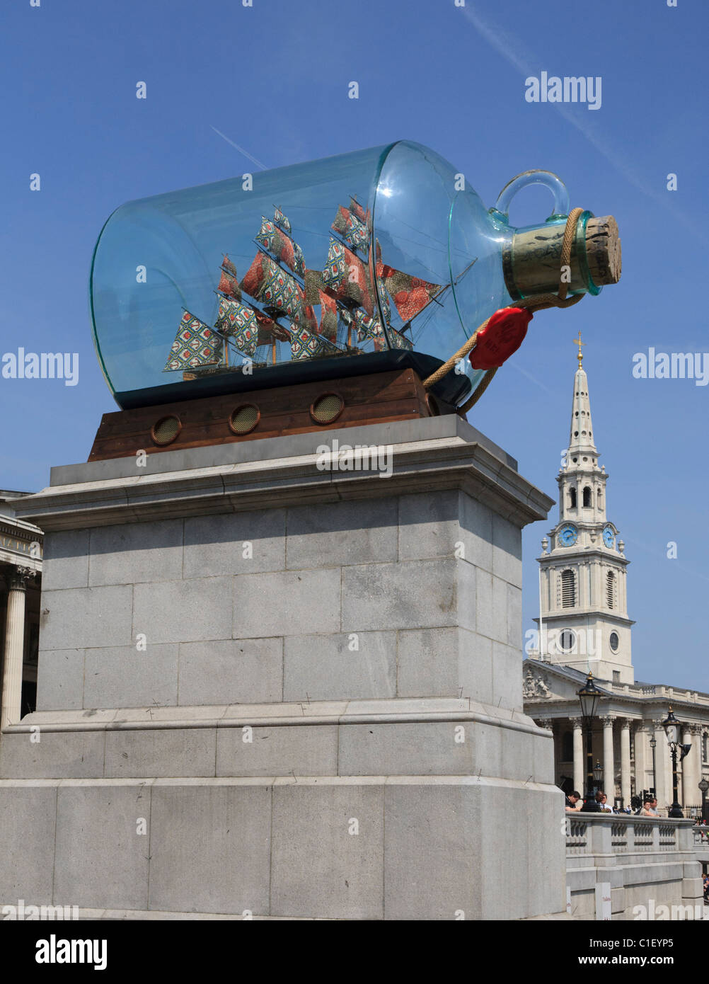 Nelson's Ship in a bottle by Yinka Shonibare on the fourth plinth in