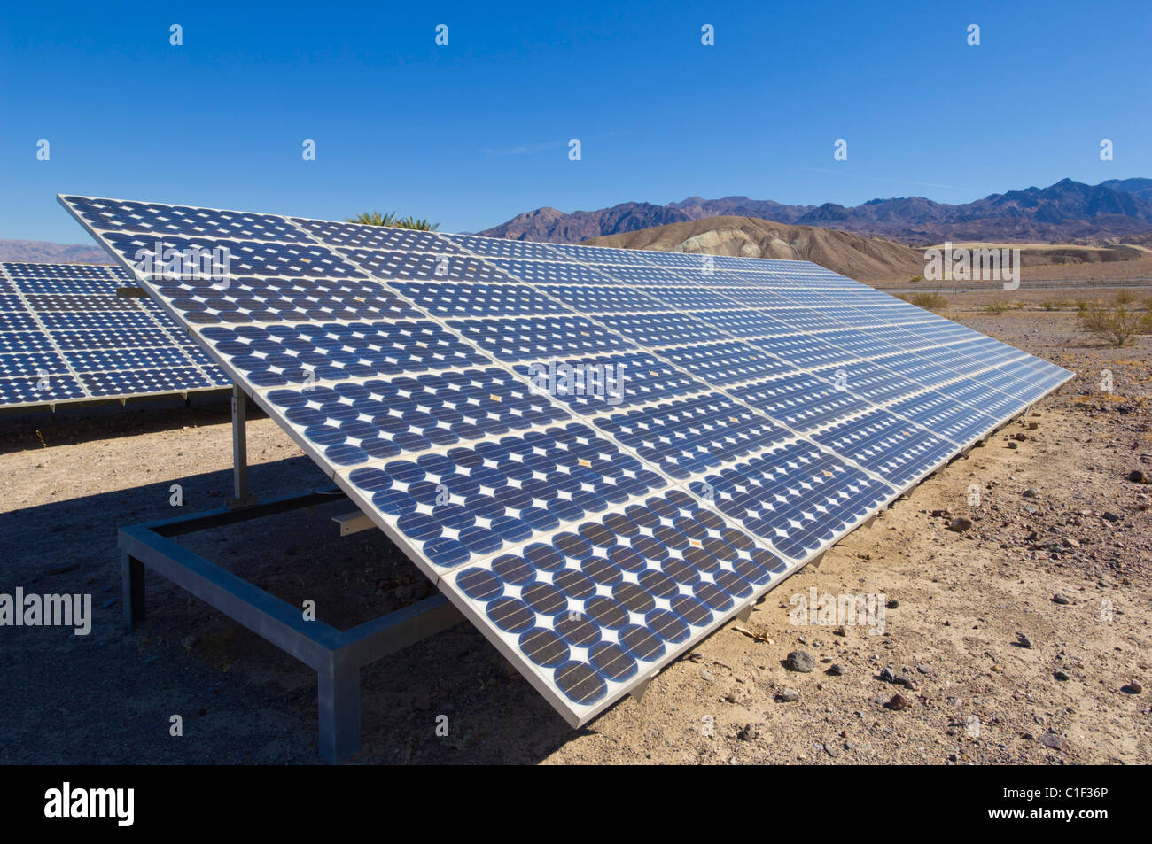 Solar panels solar panel solar photovoltaic (PV) energy system at Furnace Creek resort Death Valley National Park - Stock Image