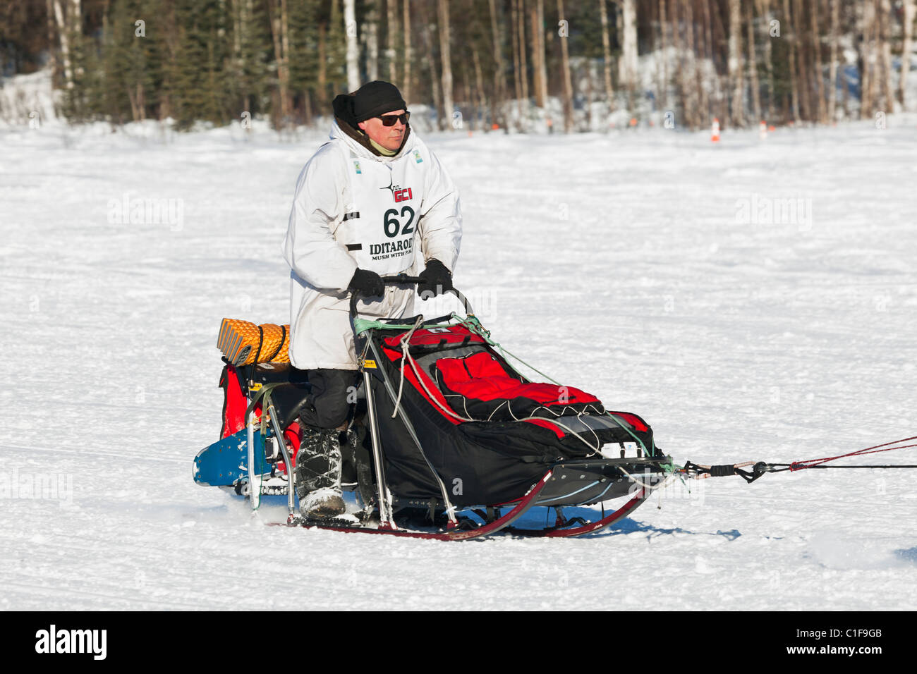 Musher Gerald Sousa competing in the 39th Iditarod Trail Sled Dog Race on Long Lake after leaving Willow Lake restart. - Stock Image