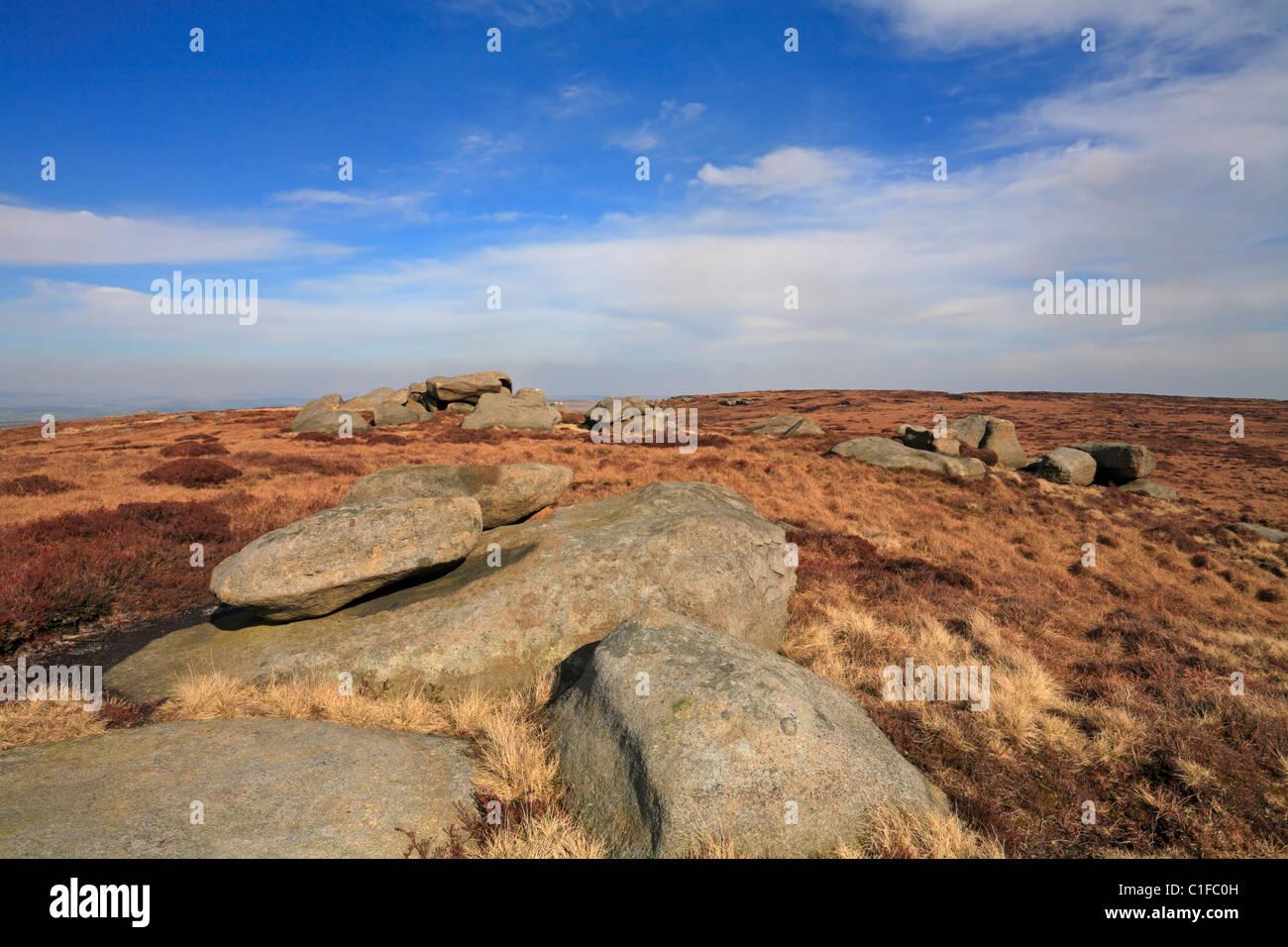 Weather Stones on Boulsworth Hill, Colne, Lancashire, England, UK. - Stock Image