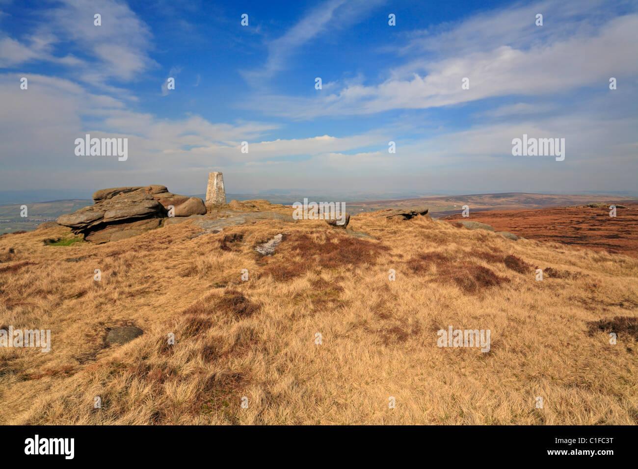 Lad Law trig point on Boulsworth Hill, Colne, Lancashire, England, UK. - Stock Image