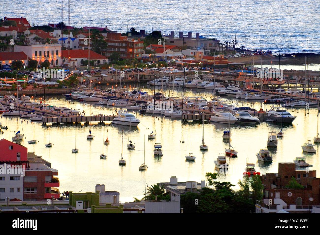 aerial view of yacht  club and harbor at Punta del Este coast, at twilight. Maldonado, Uruguay, south america - Stock Image
