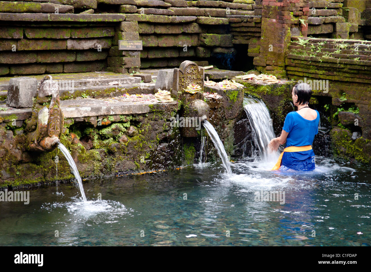 Hindu purification ritual, in a indonesian temple - Stock Image