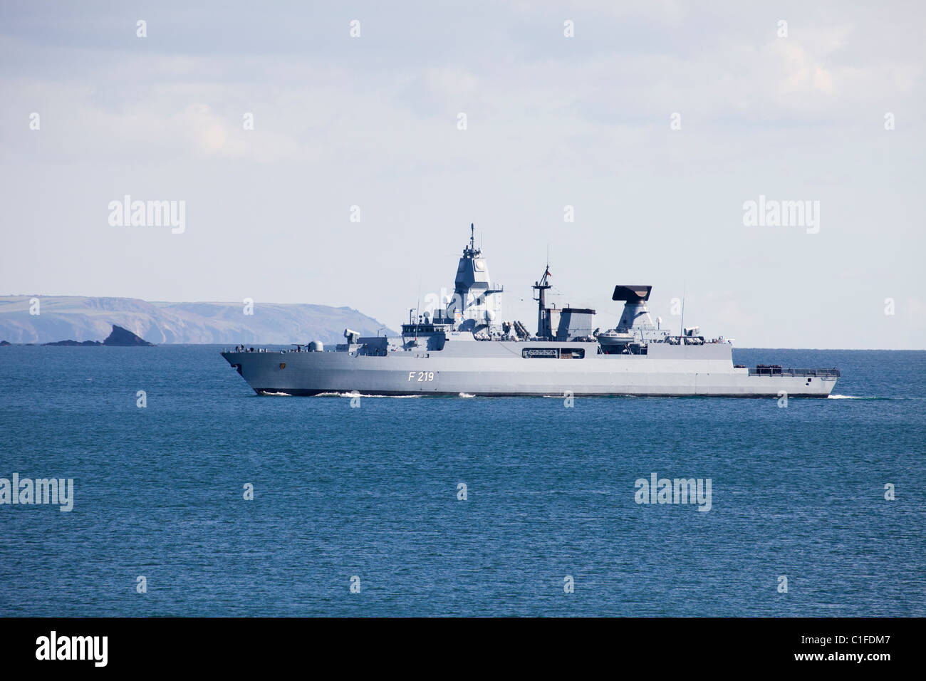Frigate F129 Germany Navy entering Plymouth Sound - Stock Image