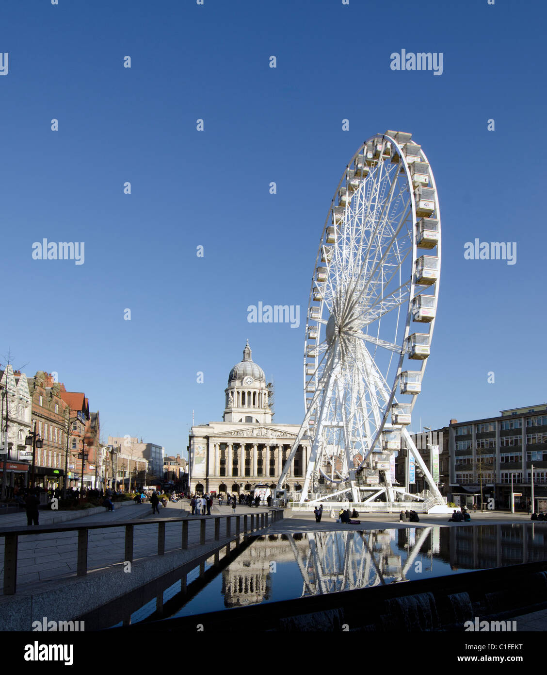 Ferris Wheel in the Old Market Square in Nottingham, UK - Stock Image