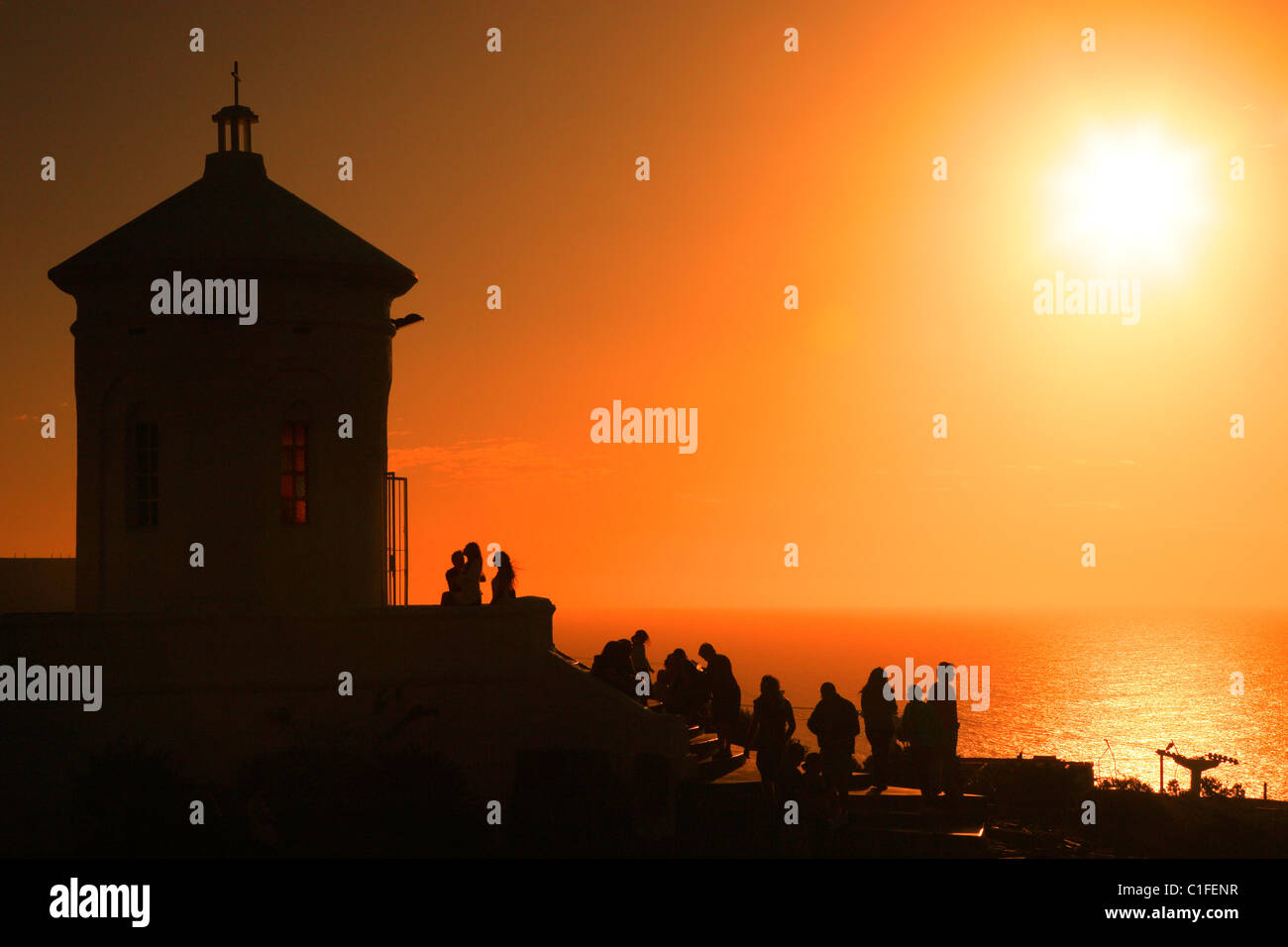 Small Church at cerro San Antonio top, in Piriapolis, during sunset. Maldonado, Uruguay, south america - Stock Image