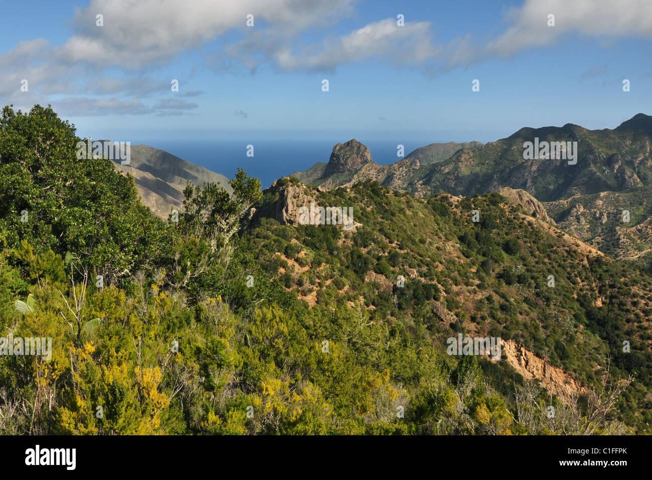 Roque Cano, Vallehermoso, La Gomera, Canary Islands, Spain - Stock Image