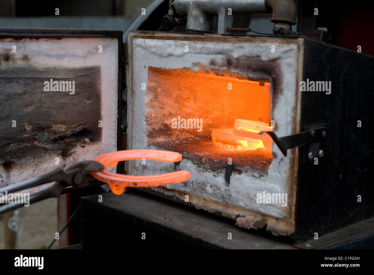 Farrier taking horseshoe out of furnace - Stock Image