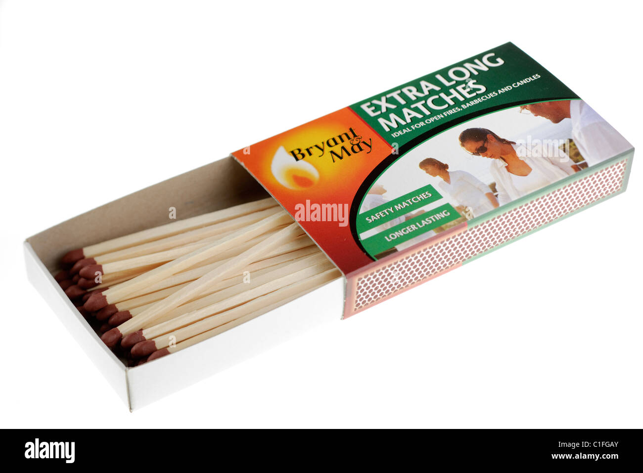Open box of Bryant and May longer lasting extra long safety matches - Stock Image