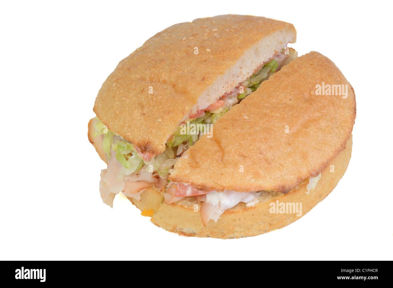 A delicious deli sandwich cut in half - Stock Image