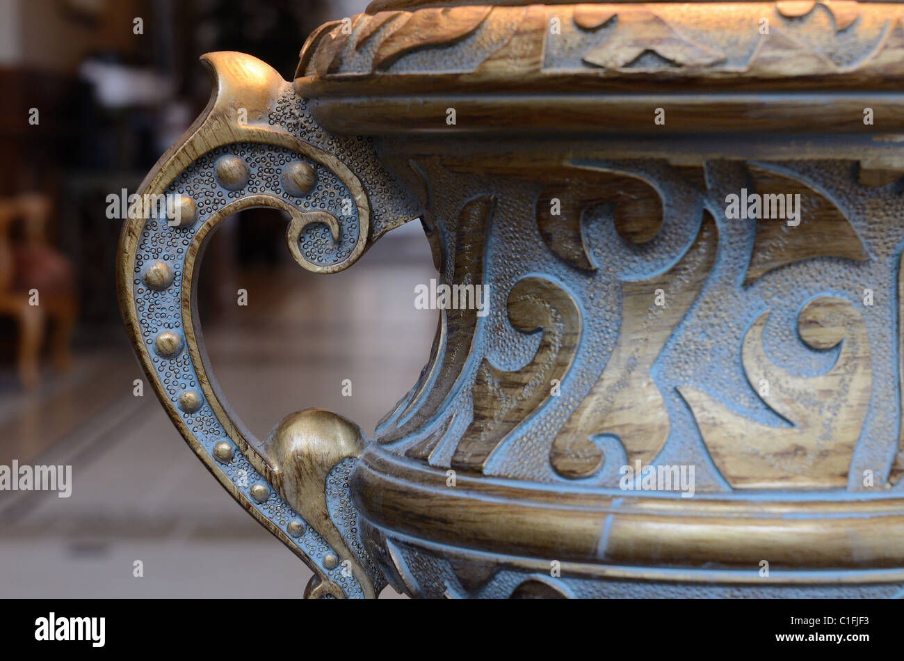 ornate lamp detail in a hotel lobby interior - Stock Image