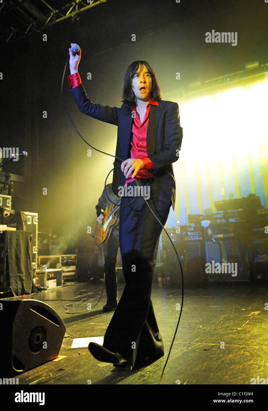 Bobby Gillespie and Rock band Primal Scream in concert performing their album Screamadelica, the O2 Academy, Birmingham - Stock Image