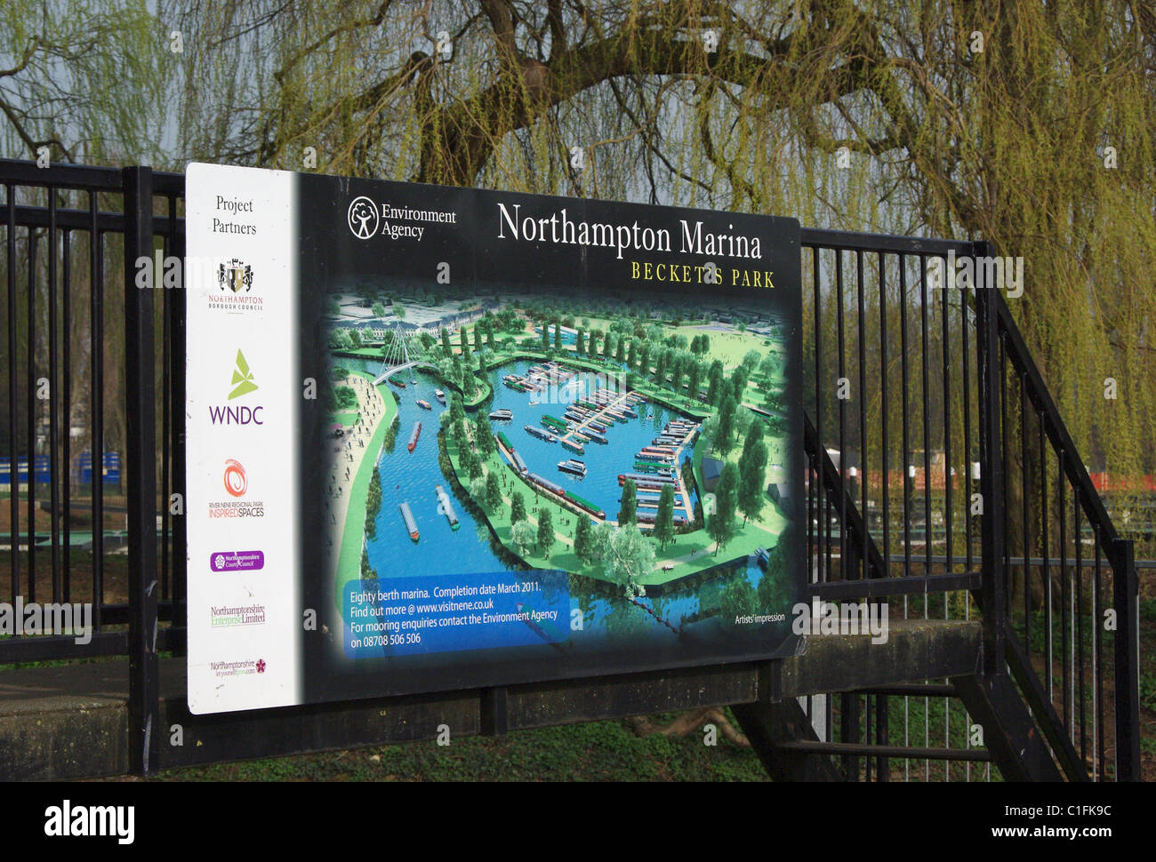 Sign announcing the opening of a brand new marina at Becket's Park, Northampton, UK - Stock Image