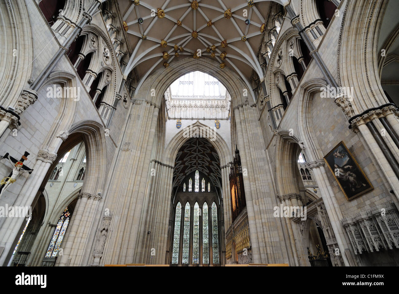 Interior of York Minster, a landmark cathedral in York, England. - Stock Image