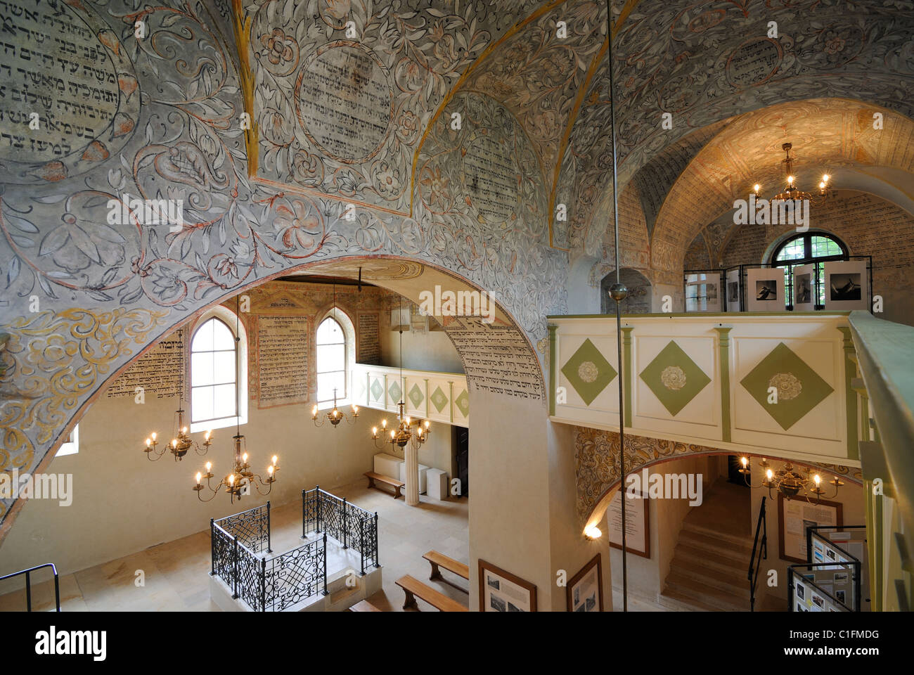 The interior of the Boskovice Synagogue displays a rare kind of painted masonry, some of which has been beautifully - Stock Image