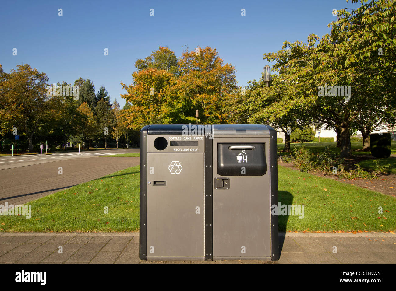 Public Parks Recycling and Trash Bins in Downtown - Stock Image