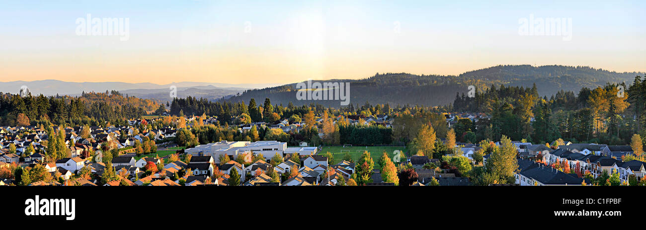 Typical Suburban Residential Area in North America Panorama - Stock Image
