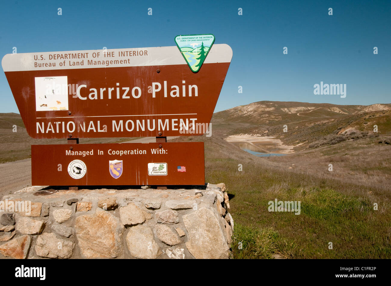 Bureau of Land Management sign at entrance to Carrizo Plain National Monument in Central California USA - Stock Image