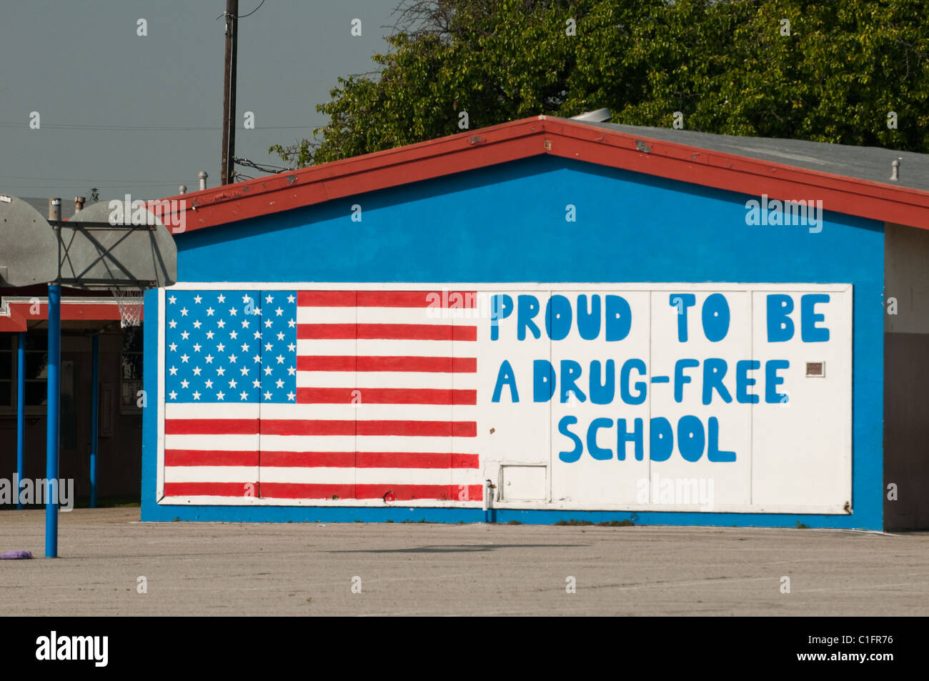 Sign in school yard of school in Long Beach Los Angeles Southern California - Stock Image