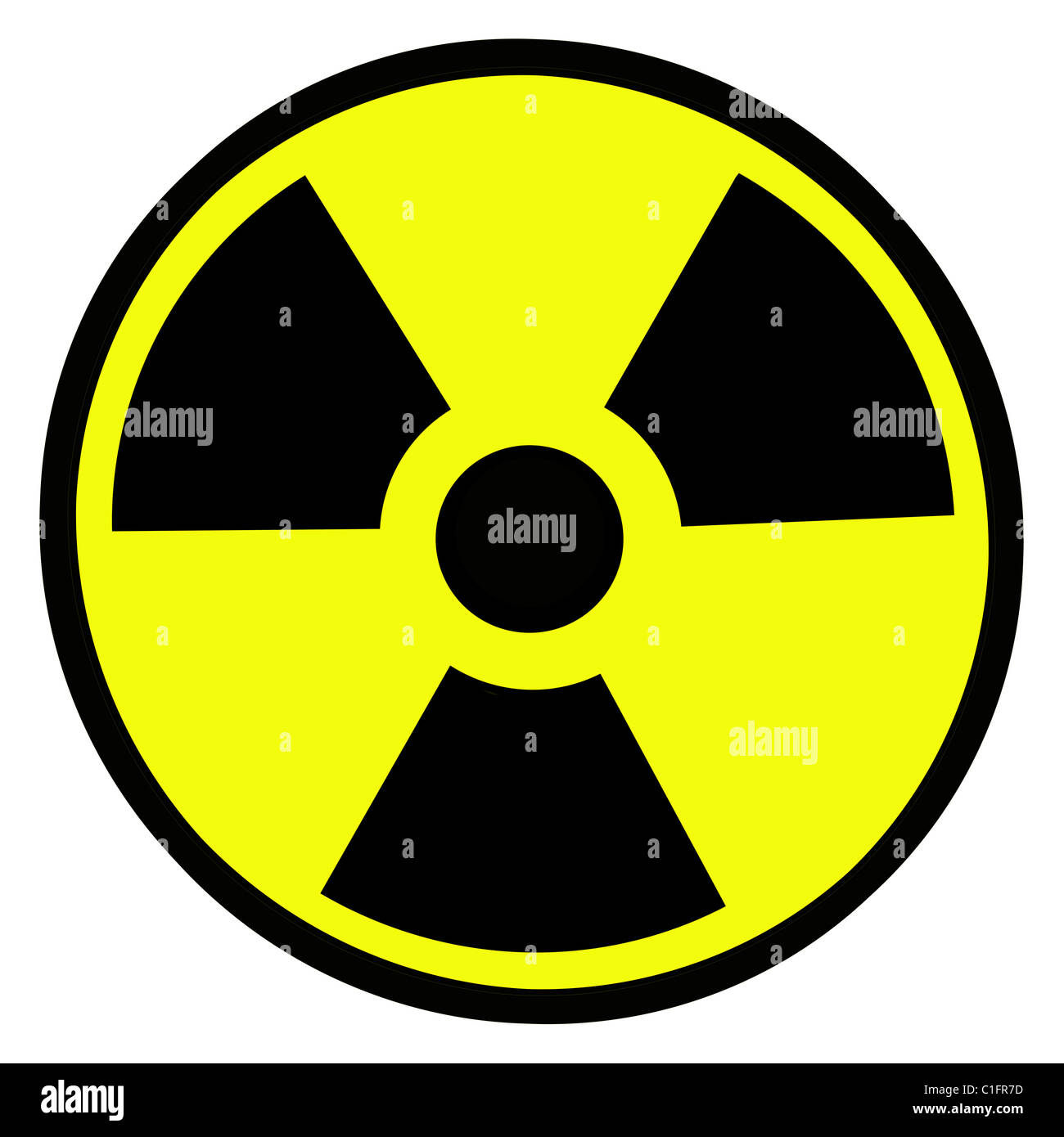 Round radiation warning sign on white background - Stock Image