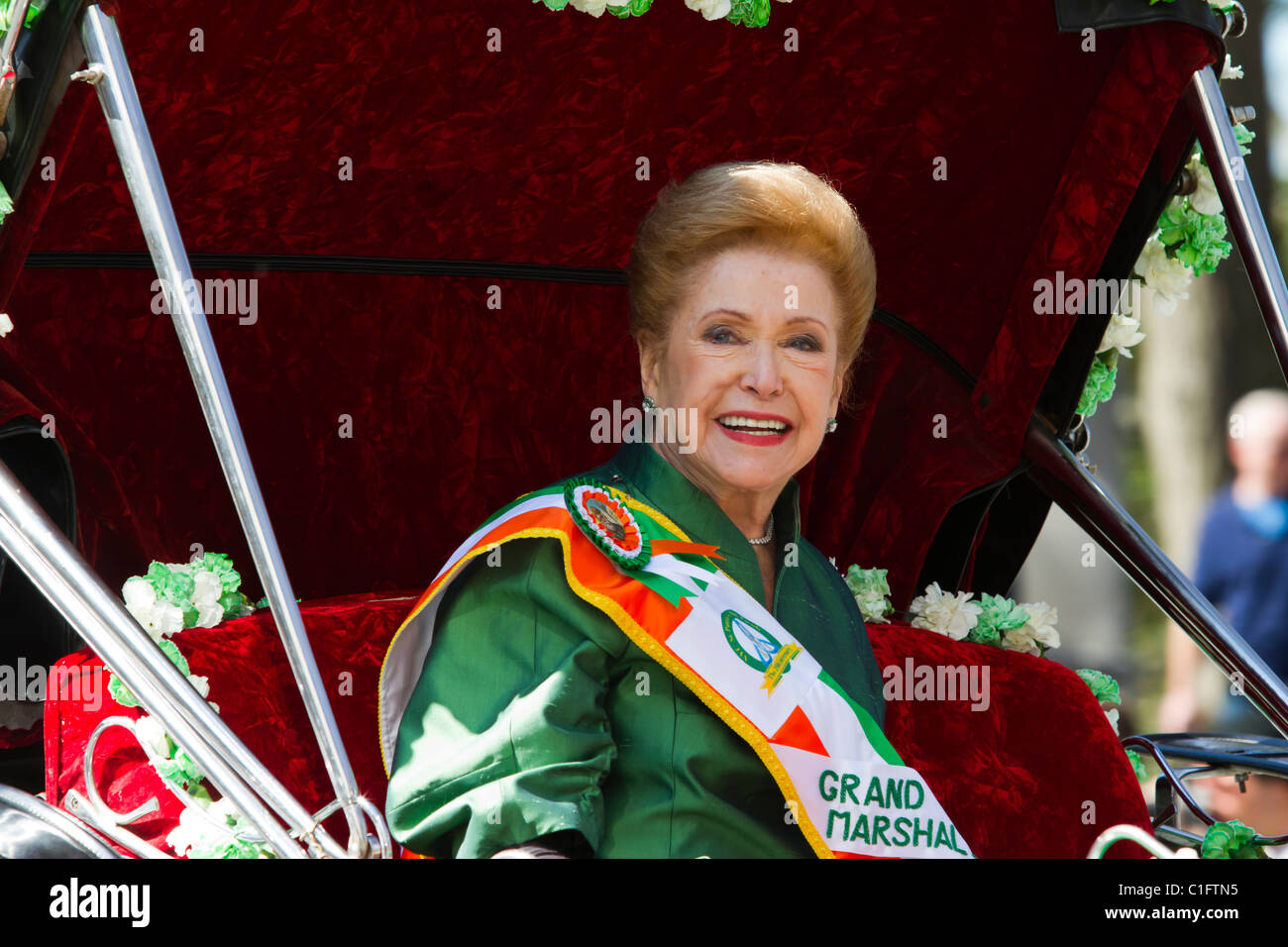 Author Mary Higgins Clark, Grand Marshall of the 250th Annual St. Patrick's Day Parade in New York City - Stock Image