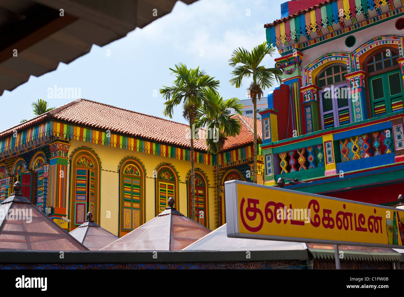 Colourful heritage buildings in Little India Singapore - Stock Image