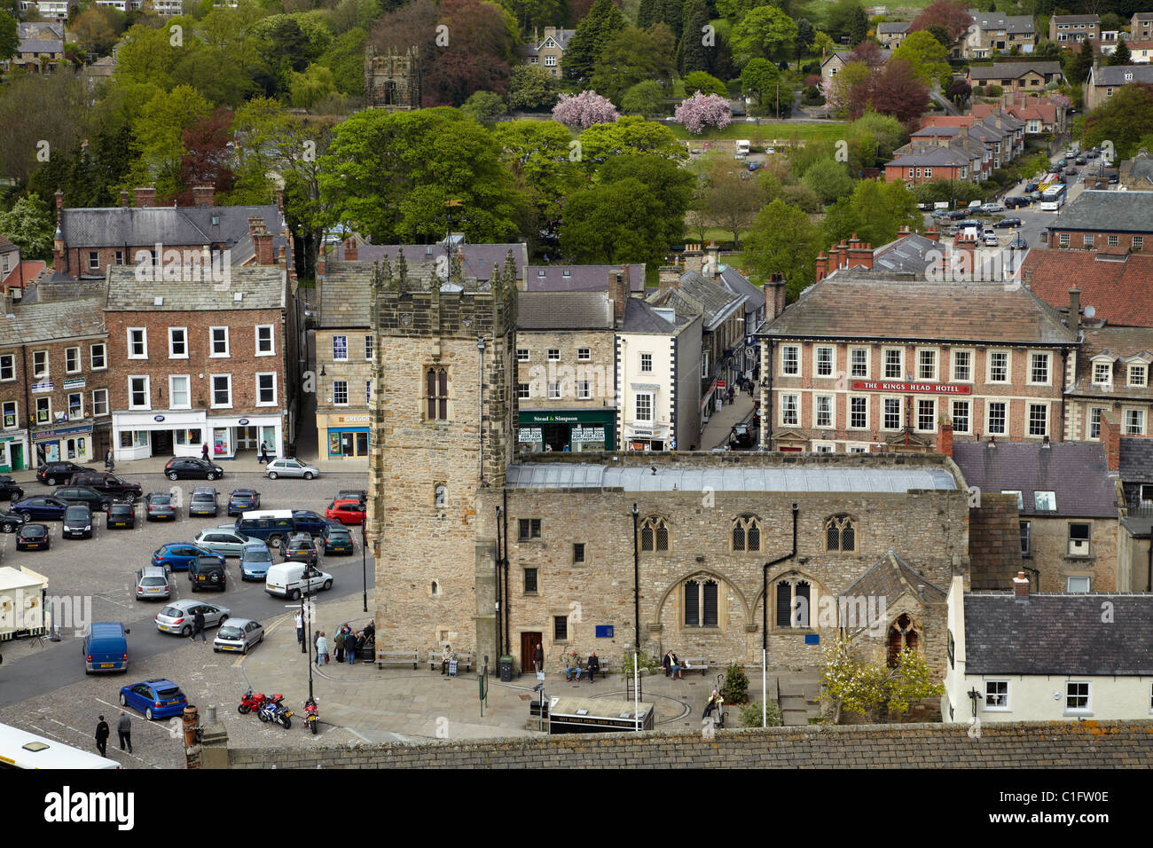 Market Place, Richmond (medieval market town founded 1071), seen from Richmond Castle, North Yorkshire, England, Stock Photo