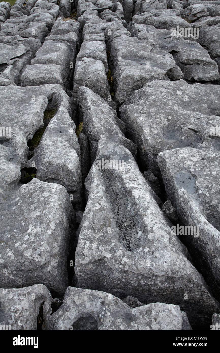 Limestone Pavement, Malham Cove, near Malham Village, Yorkshire Dales National Park, North Yorkshire, England, United - Stock Image