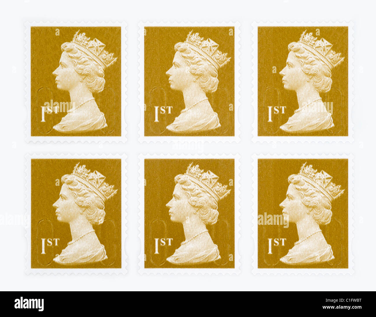 UK Royal Mail First class postage stamps - Stock Image