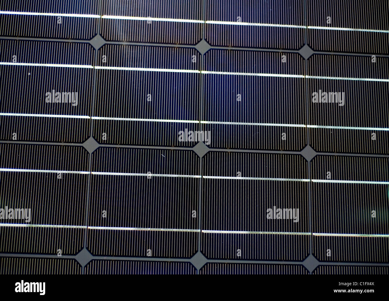 Exterior Renewable Energy Solar Cell, Solar Power panels, Detail 'Photovoltic cells' 'straight on' - Stock Image