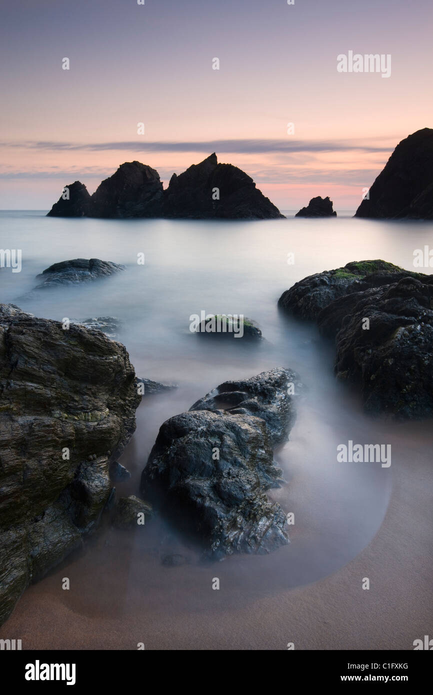 Twilight at Soar Mill Cove on the South Hams, Devon, England. Autumn (September) 2010. - Stock Image
