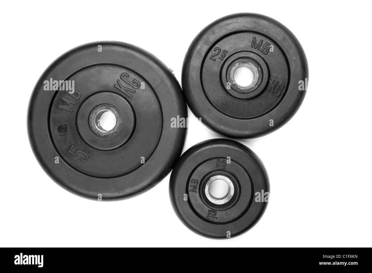 object on white - dumbbell close up - Stock Image