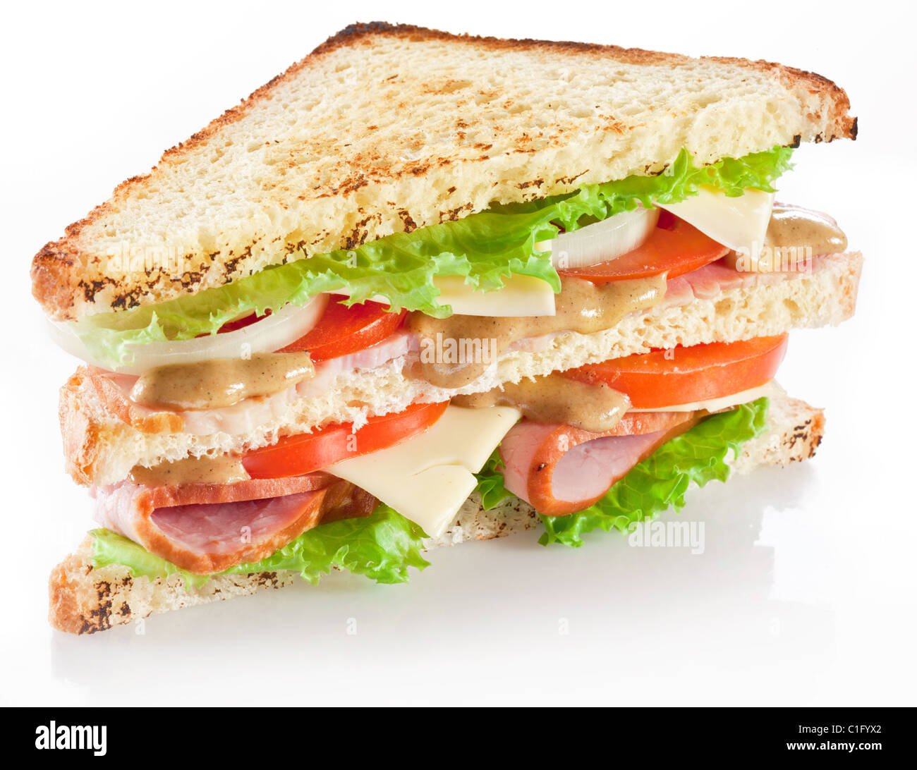 Sandwich with bacon and vegetables on white background - Stock Image