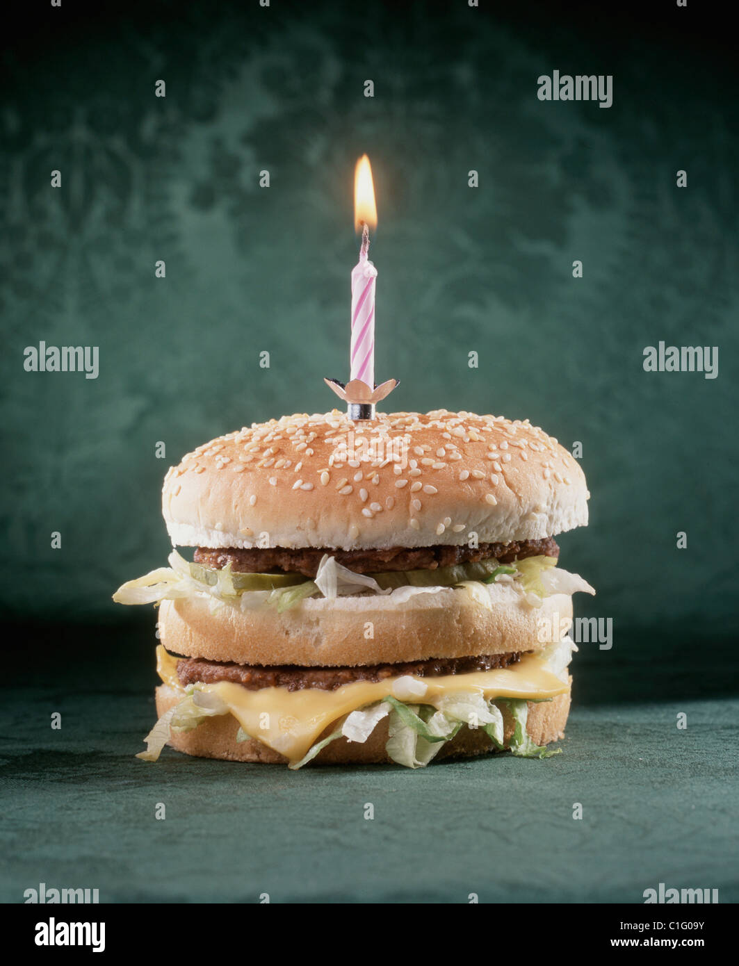 Burger With Birthday Candle Stock Photo 35386903 Alamy