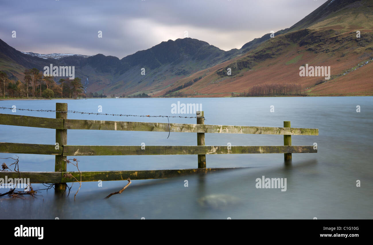Buttermere and Haystacks from the lake shore, Lake District National Park, Cumbria, England. Autumn (November) 2010. - Stock Image