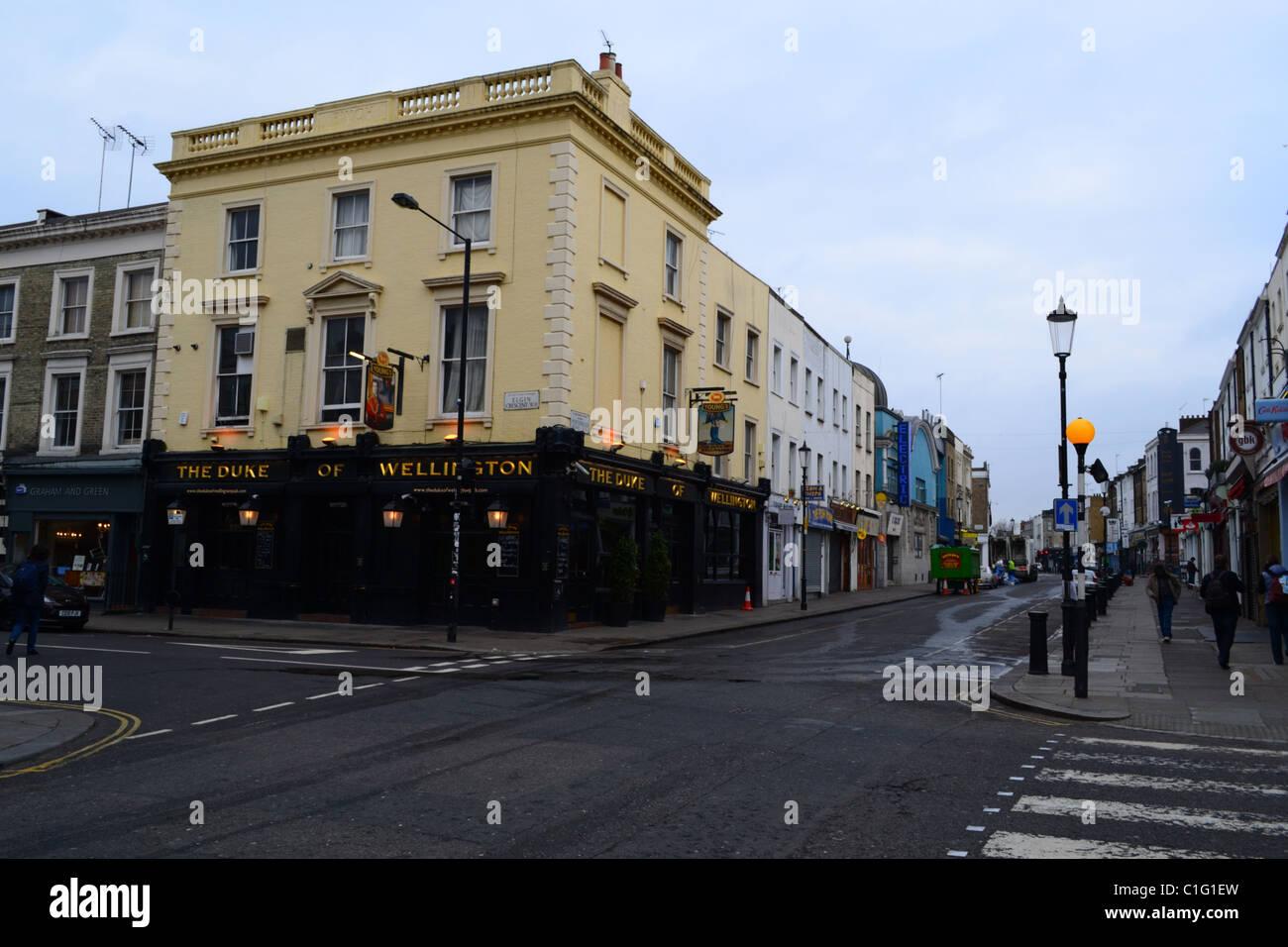 'Duke of Wellington' pub, Portobello Road, Notting Hill, London, Uk ARTIFEX LUCIS - Stock Image