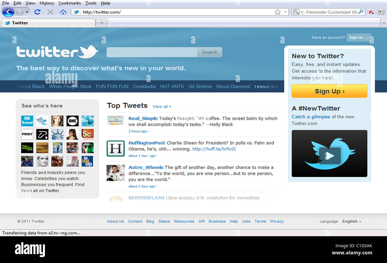 Twitter Home Page - Stock Image