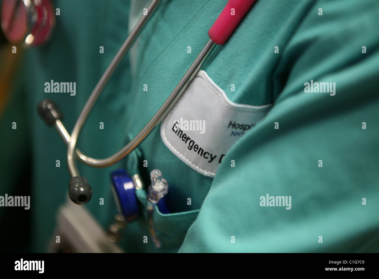 Health care worker with stethoscope - Stock Image