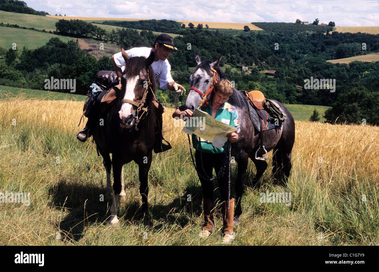 France, Drome, tourisme equestre - Stock Image