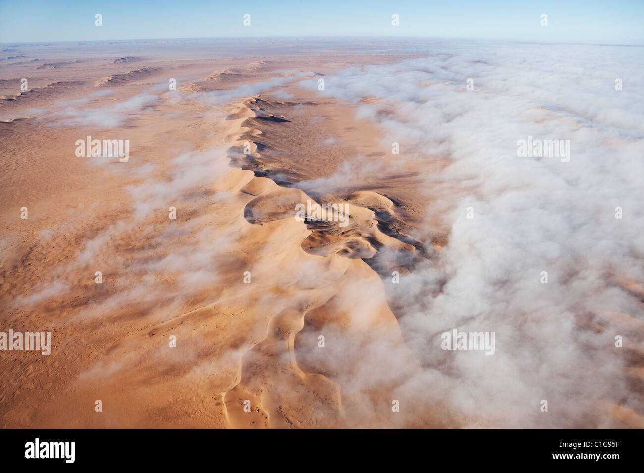 Aerial view of sand dunes of the Namibian desert - Stock Image