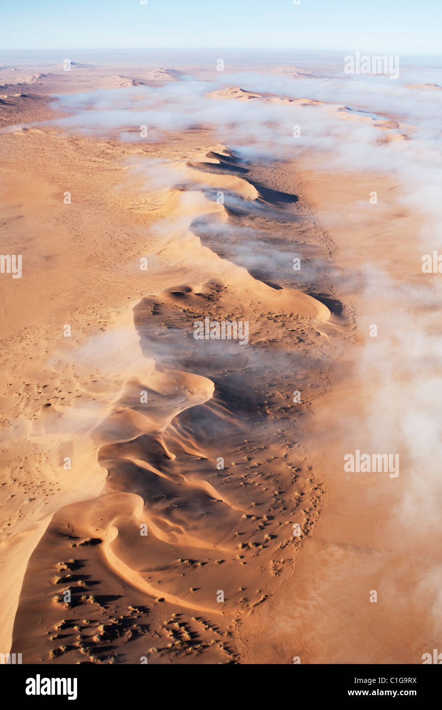 Aerial view of sand dunes of the Namibian desert Stock Photo